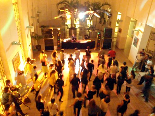 The dance floor at the atrium (which is usually used as canteen in daytime), pictured from the balcony.