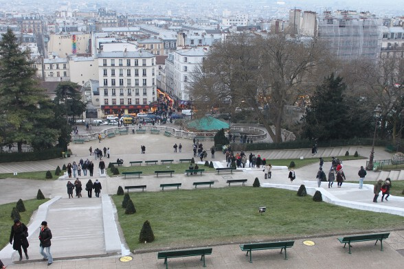 View from the feet of the Basilica: Louise Michel Square